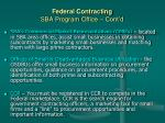 federal contracting sba program office cont d