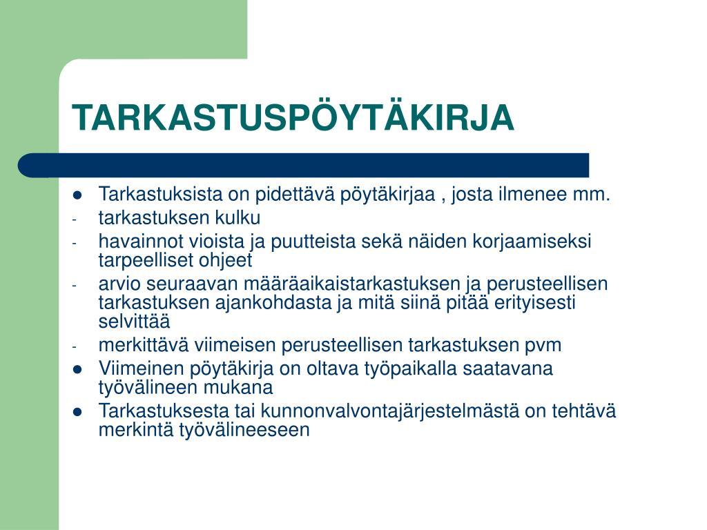 TARKASTUSPÖYTÄKIRJA