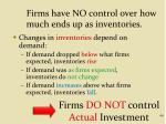 firms have no control over how much ends up as inventories