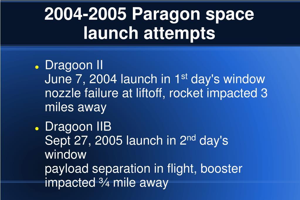 2004-2005 Paragon space launch attempts