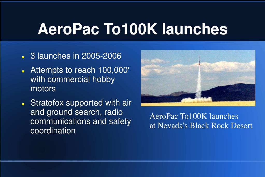 AeroPac To100K launches