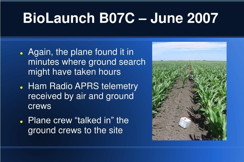 BioLaunch B07C – June 2007