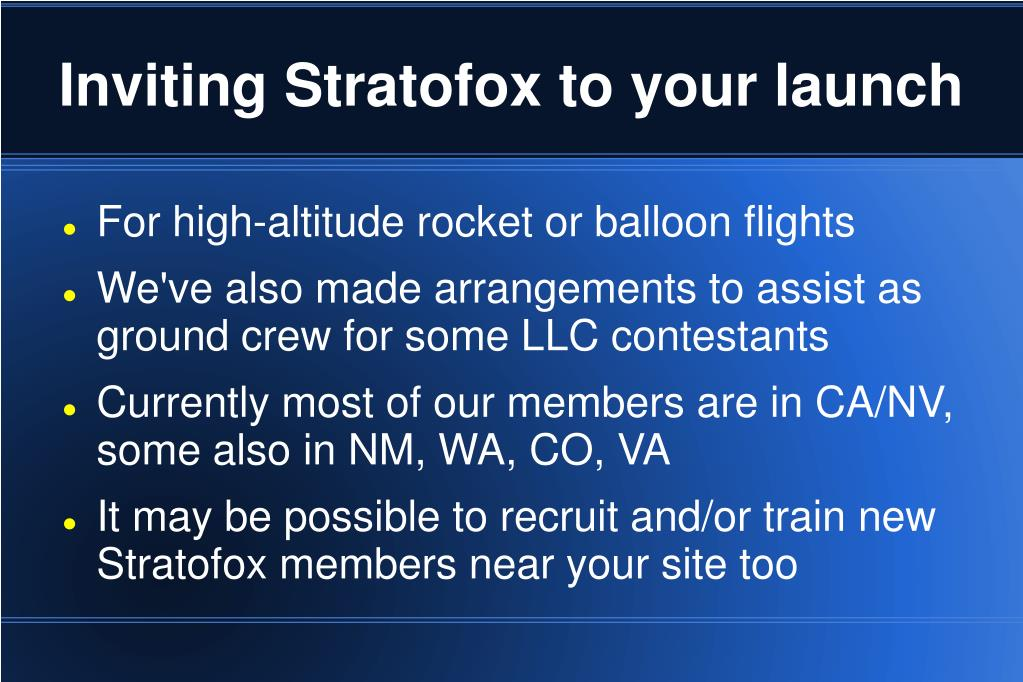 Inviting Stratofox to your launch