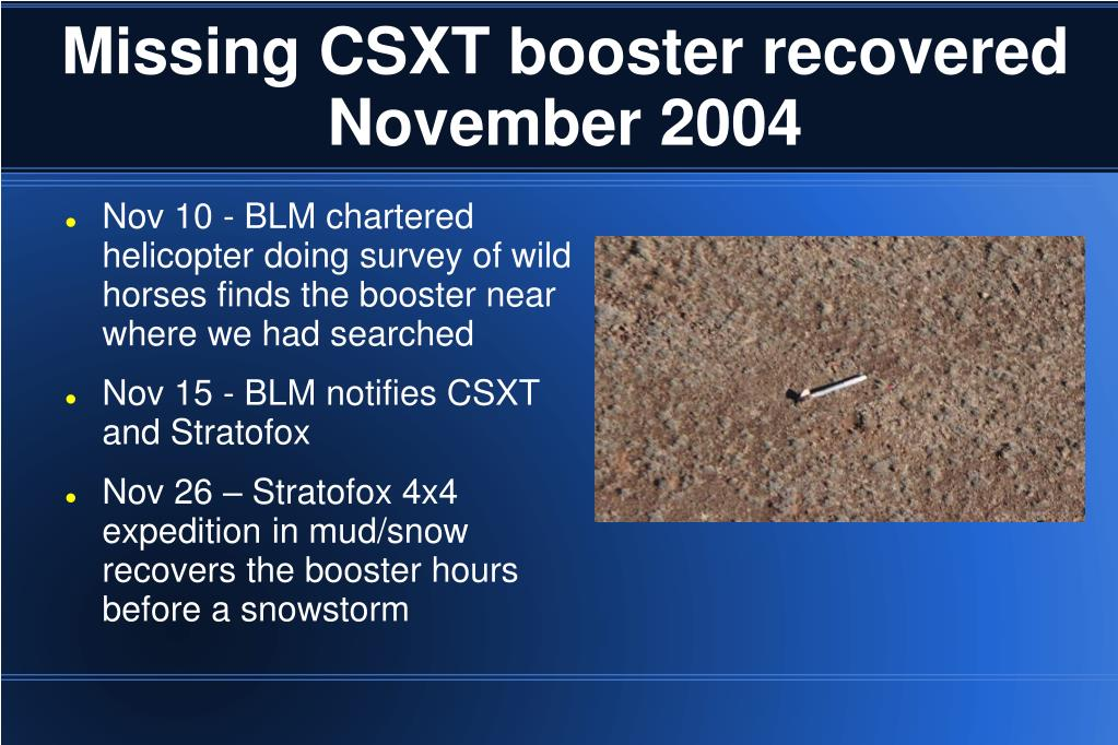 Missing CSXT booster recovered