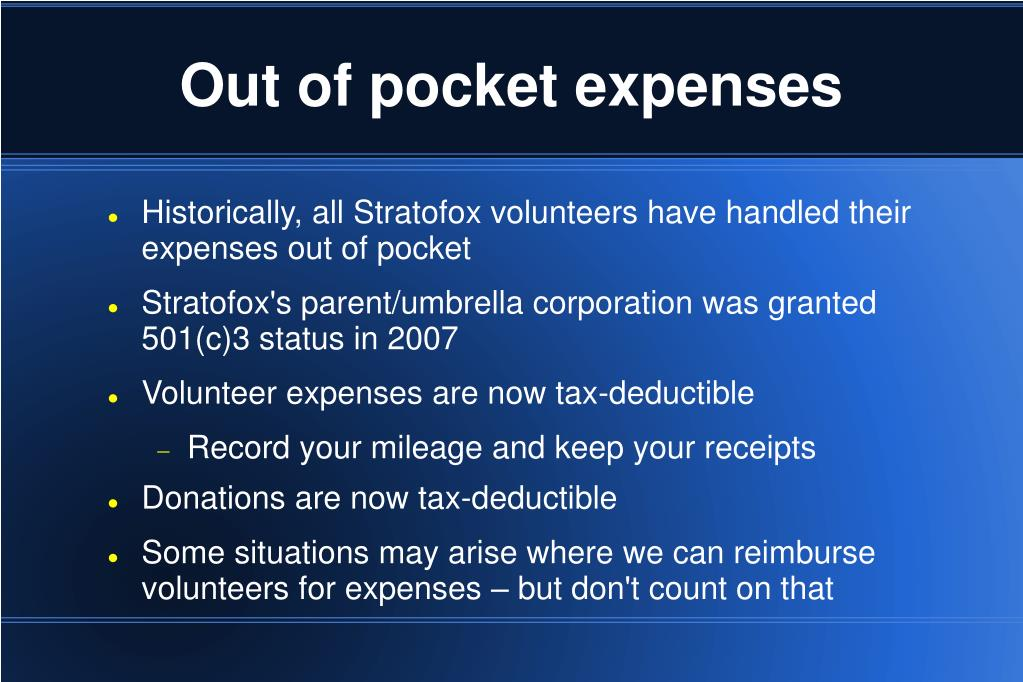 Out of pocket expenses