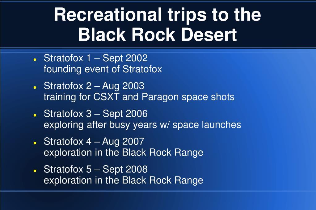 Recreational trips to the Black Rock Desert