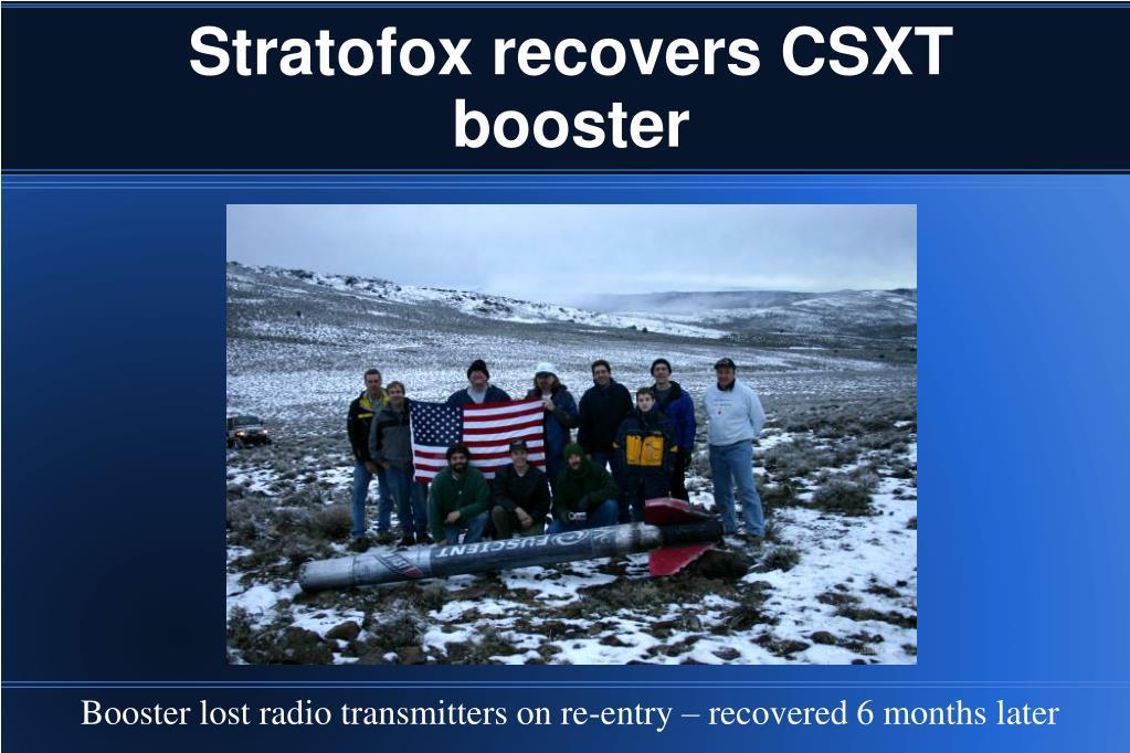 Stratofox recovers CSXT booster