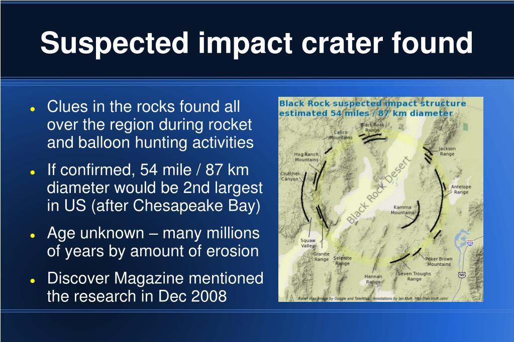 Suspected impact crater found