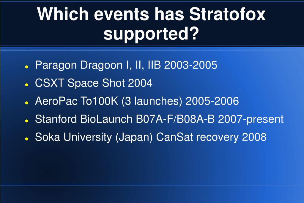 Which events has Stratofox supported?