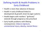 defining health health problems in early childhood