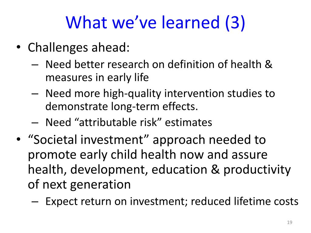 What we've learned (3)