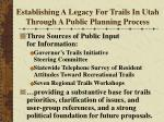 establishing a legacy for trails in utah through a public planning process10