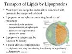 transport of lipids by lipoproteins