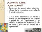 qu es la cultura organizacional