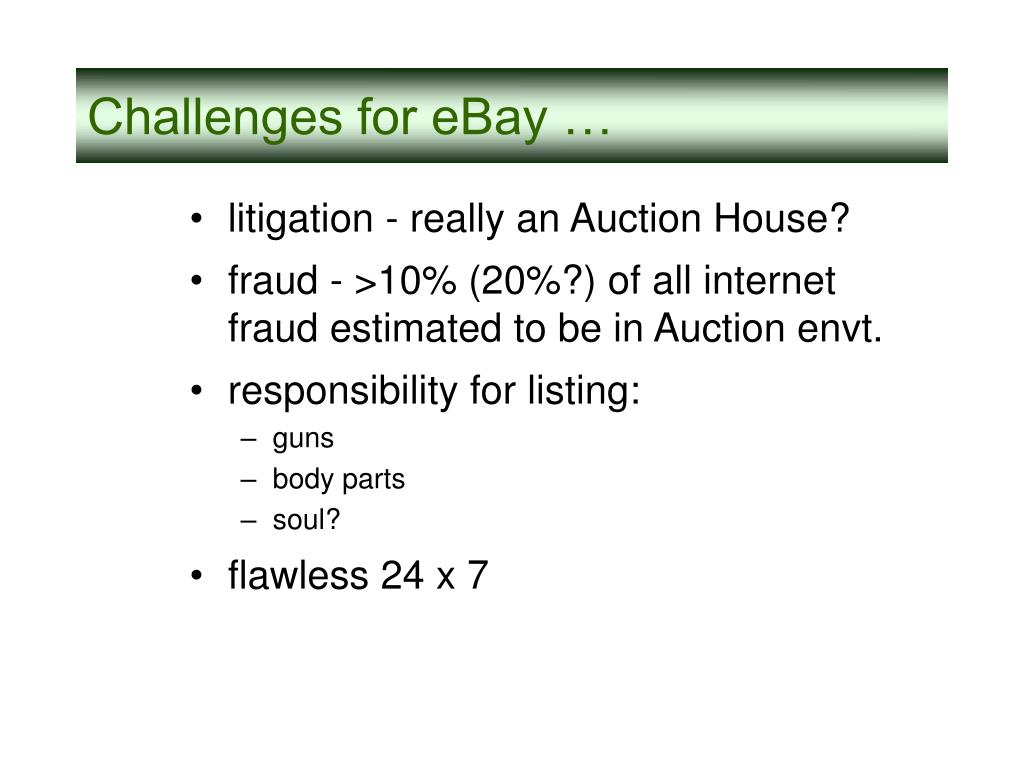 Challenges for eBay …