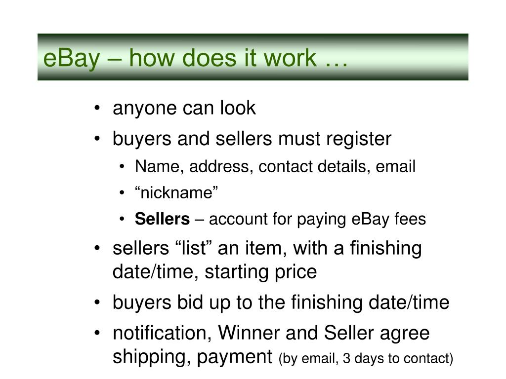 eBay – how does it work …