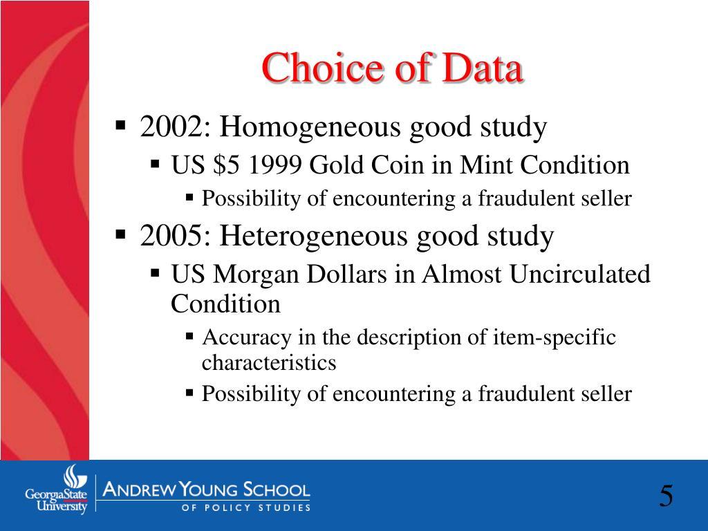 Choice of Data