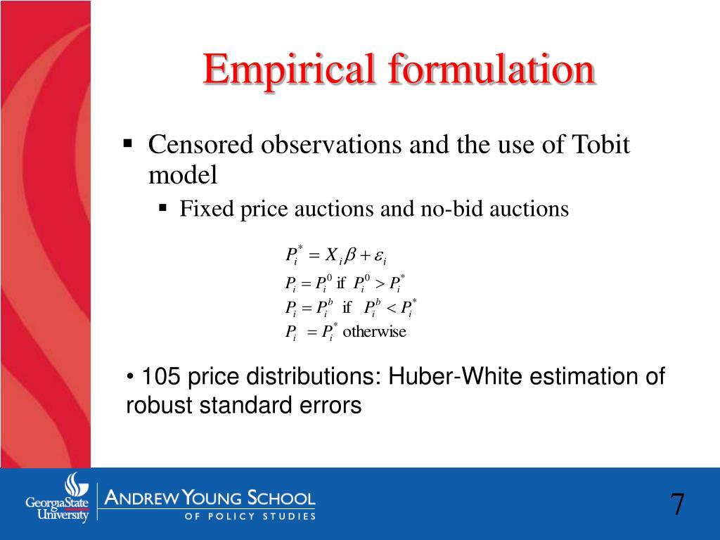 Empirical formulation