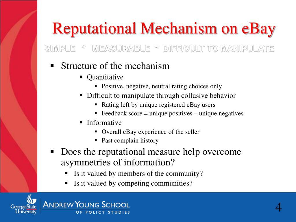 Reputational Mechanism on eBay