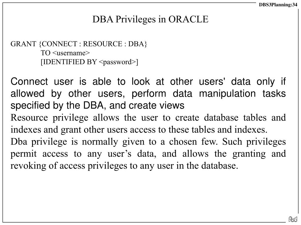 DBA Privileges in ORACLE