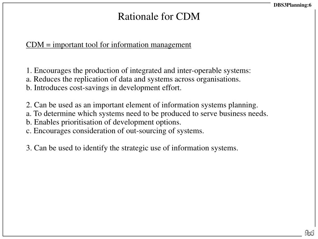 Rationale for CDM