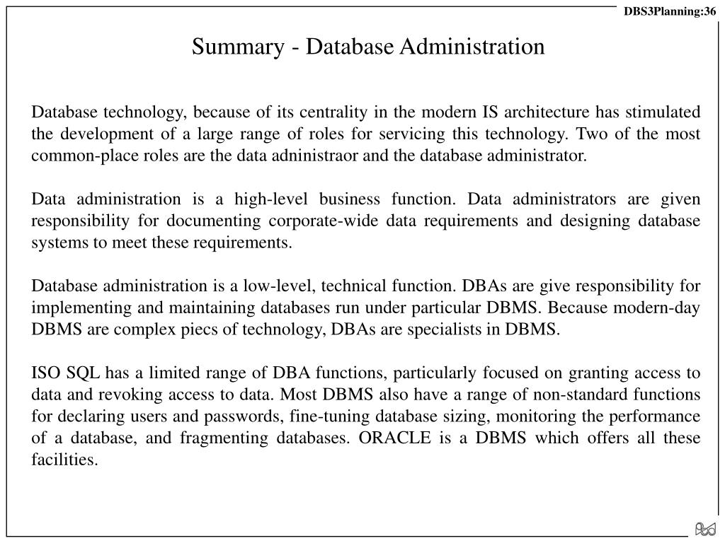 Summary - Database Administration