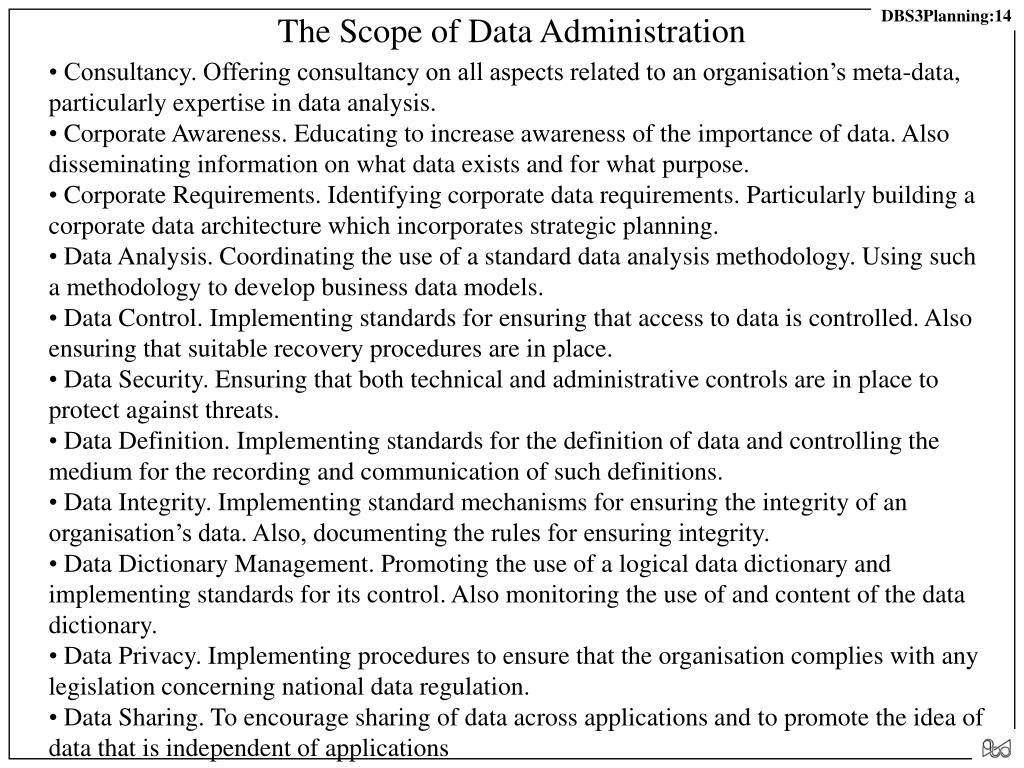 The Scope of Data Administration