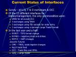 current status of interfaces