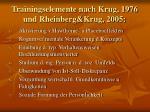 trainingselemente nach krug 1976 und rheinberg krug 2005