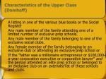 characteristics of the upper class domhoff