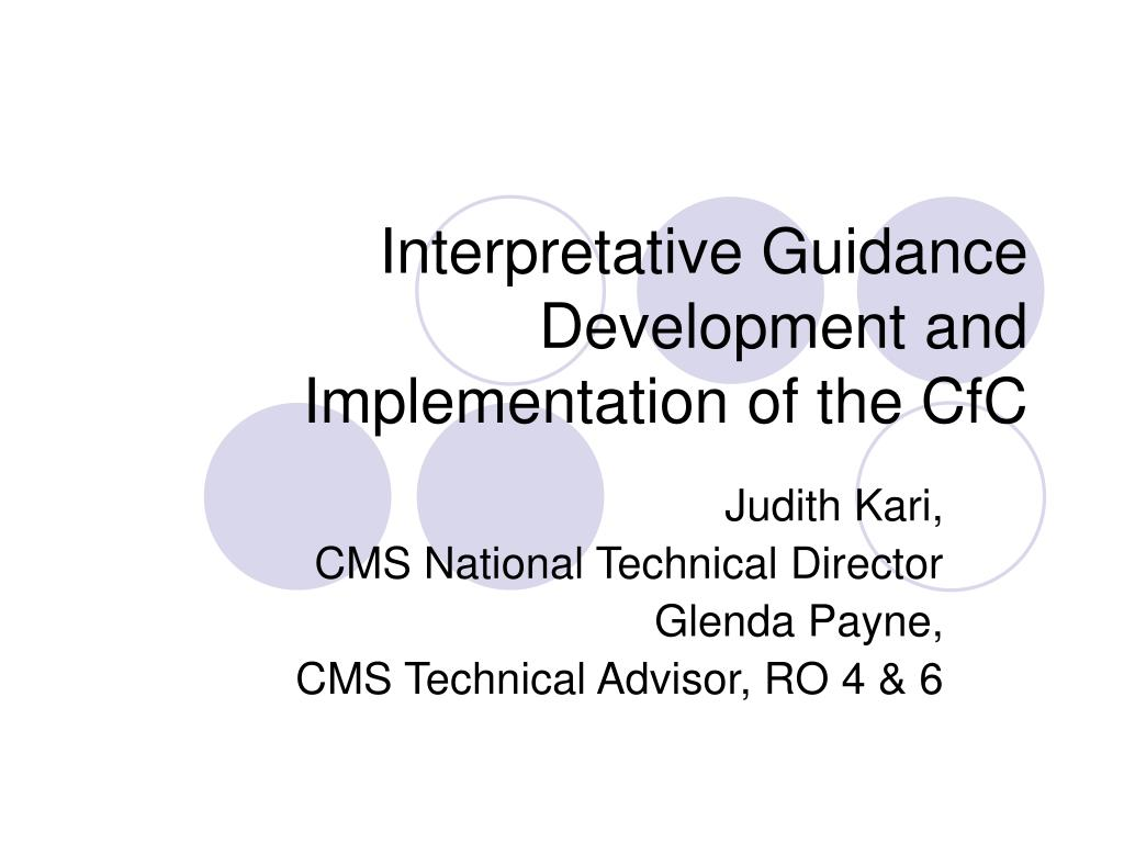 interpretative guidance development and implementation of the cfc l.