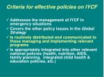 criteria for effective policies on iycf10