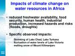 impacts of climate change on water resources in africa