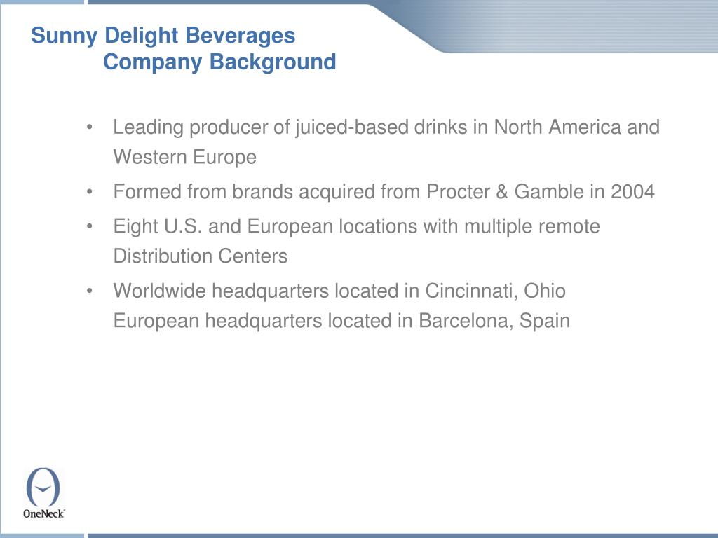 Sunny Delight Beverages Company Background