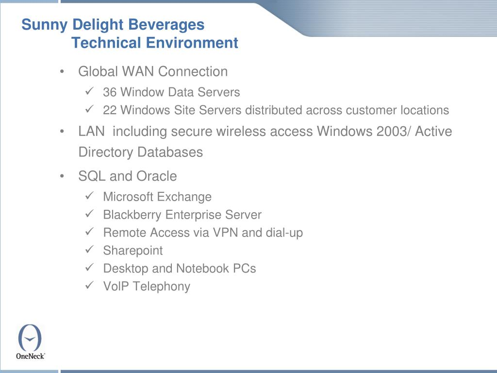 Sunny Delight Beverages Technical Environment