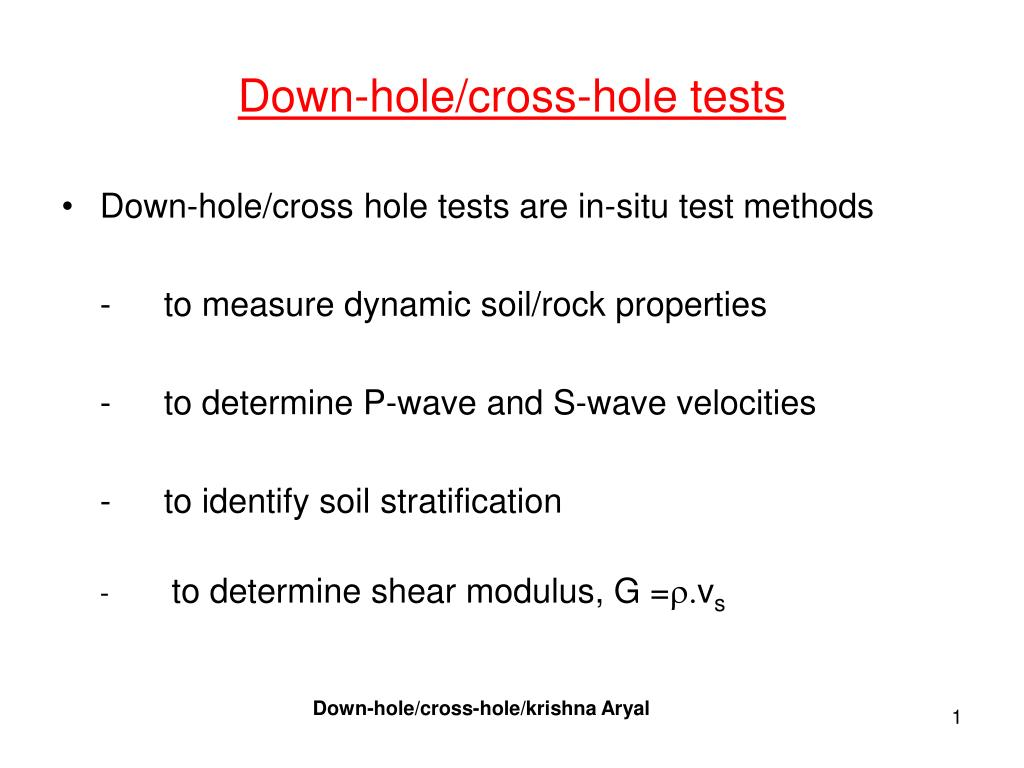 down hole cross hole tests l.