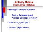 activity ratios turnover ratios29