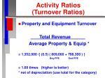 activity ratios turnover ratios30
