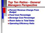 top ten ratios general managers perspective55