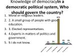 knowledge of democracy in a democratic political system who should govern the country