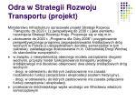 odra w strategii rozwoju transportu projekt