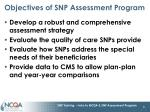 objectives of snp assessment program