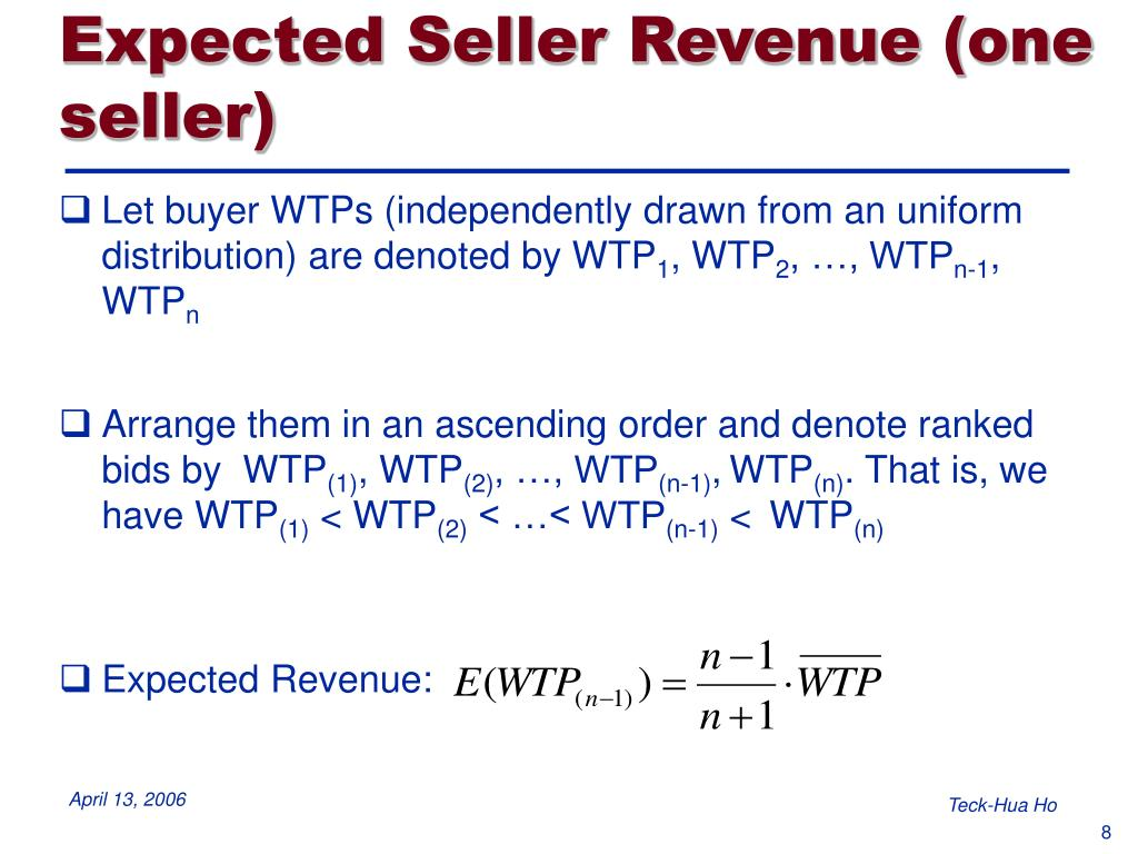 Expected Seller Revenue (one seller)