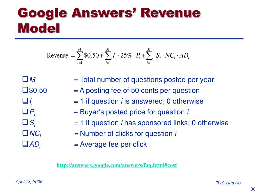 Google Answers' Revenue Model
