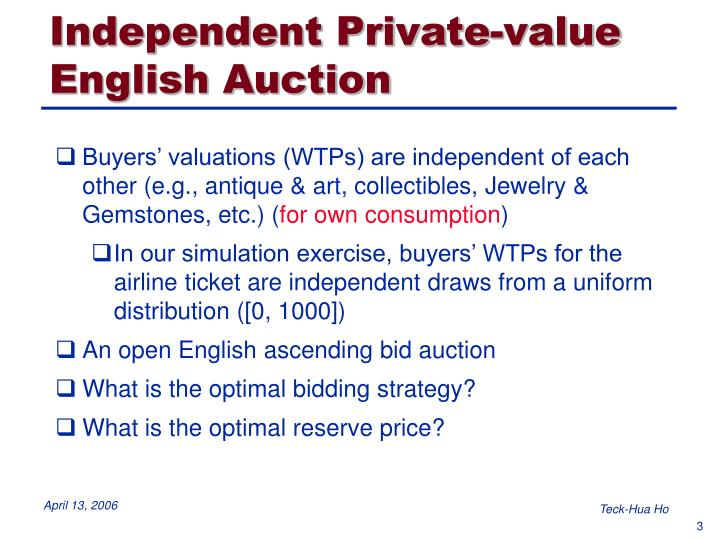 Independent private value english auction