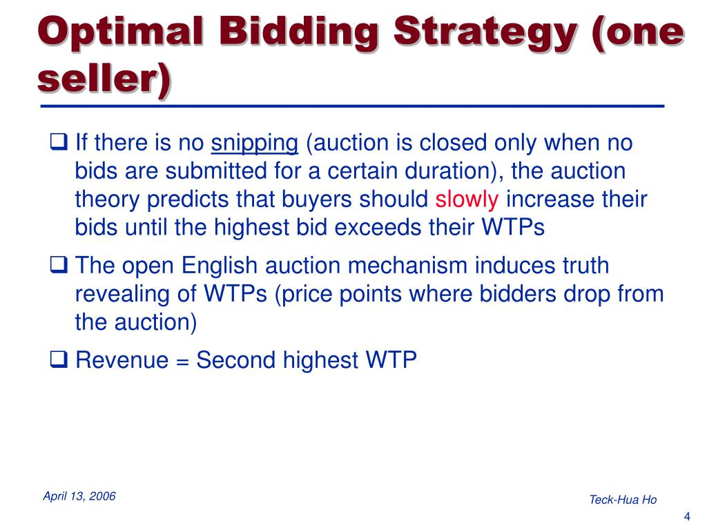 Optimal Bidding Strategy (one seller)