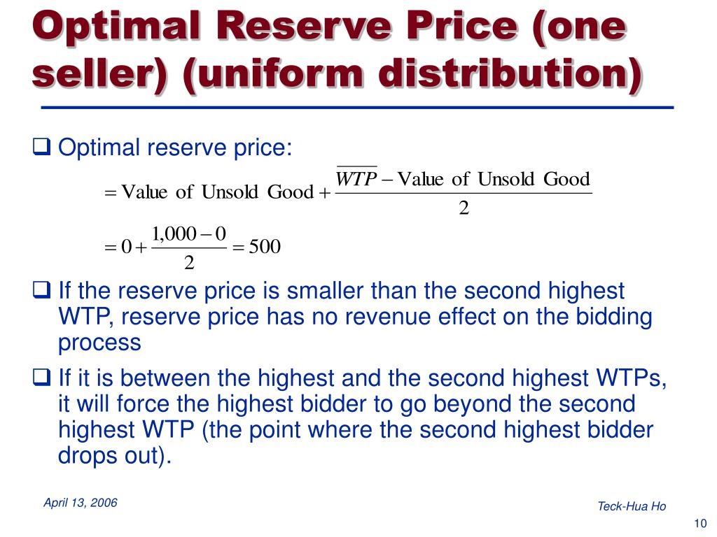 Optimal Reserve Price (one seller) (uniform distribution)