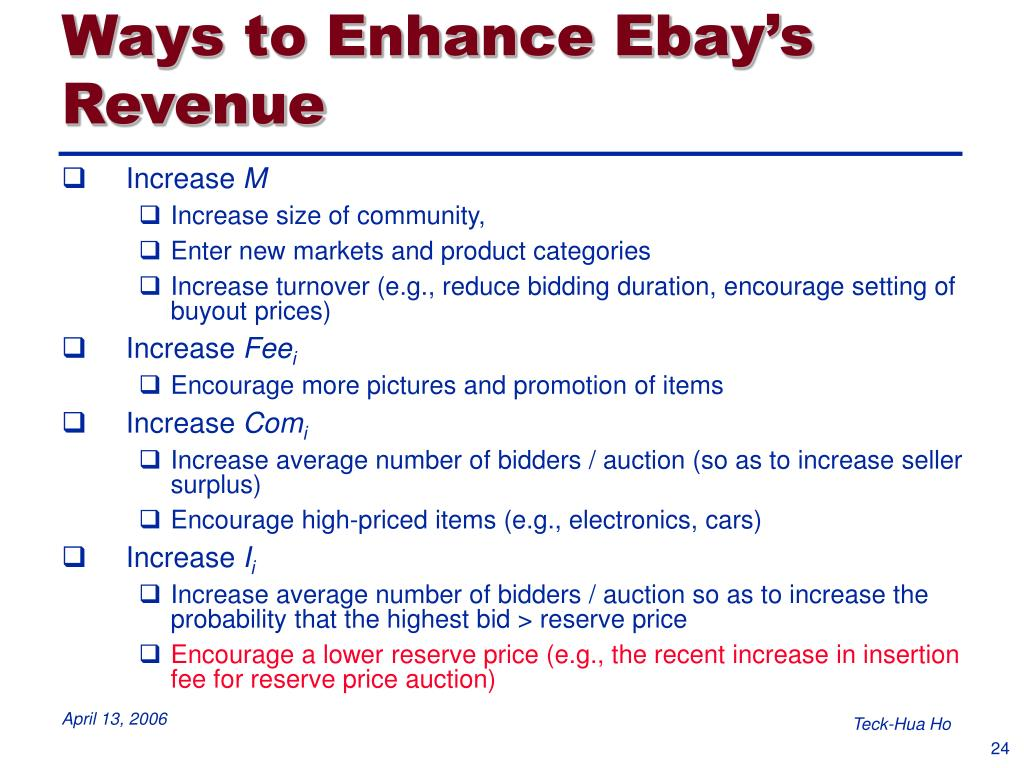 Ways to Enhance Ebay's Revenue