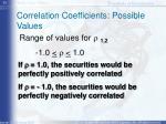 correlation coefficients possible values