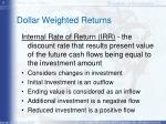 dollar weighted returns